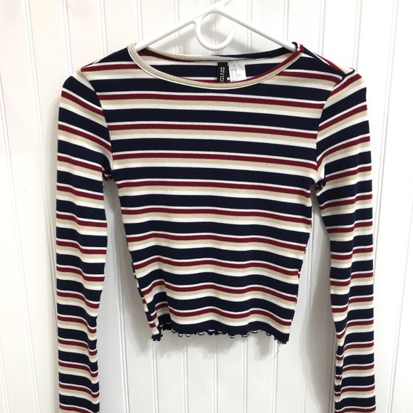 a6403e3762a8f6 H M Tops - NWOT Red White Blue Stripe Lettuce Edge Crop Top